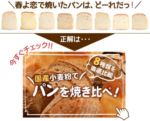 春よ恋で焼いたパンは、どーれだっ!正解は…今すぐチェック!国産小麦粉でパンを焼き比べ!