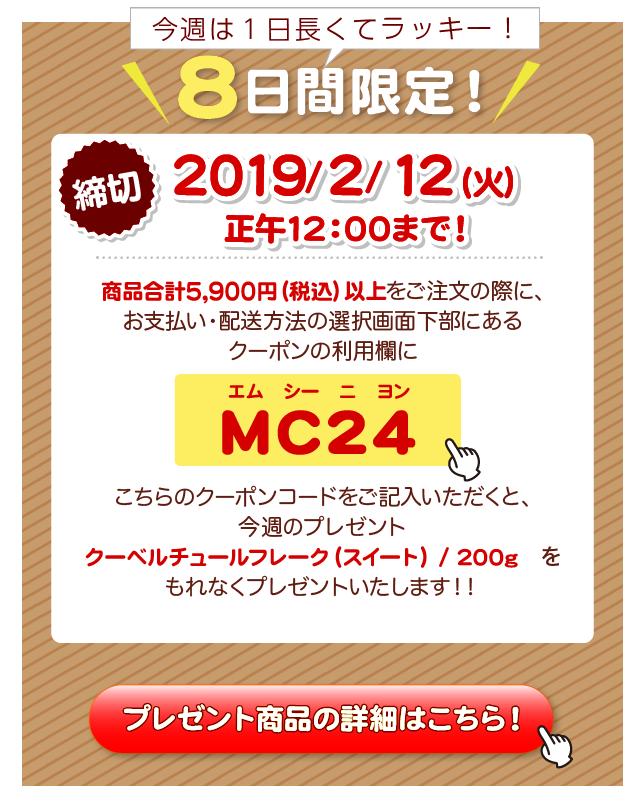 プレゼントのクーポンコードはMC24(エム シー ニ ヨン)